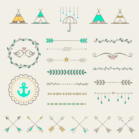 indian feather: Hipster sketch style infographics elements set for retro design. Paster color