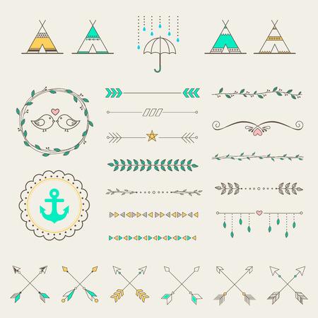Hipster Skizze Stil Infografiken Elemente für Retro-Design gesetzt. Paster Farbe Standard-Bild - 43576080