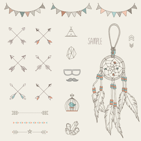 decor: Hipster sketch style infographics elements set for retro design. Paster color