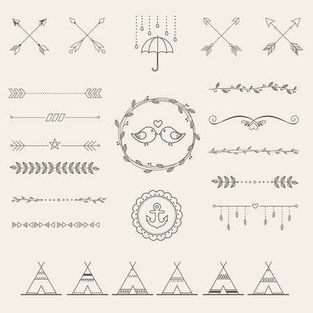 floral border frame: Hipster sketch style infographics elements set for retro design. Paster color