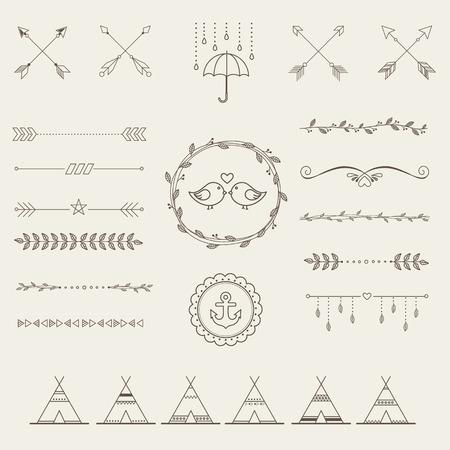 florale: Hipster Skizze Stil Infografiken Elemente für Retro-Design gesetzt. Paster Farbe Illustration
