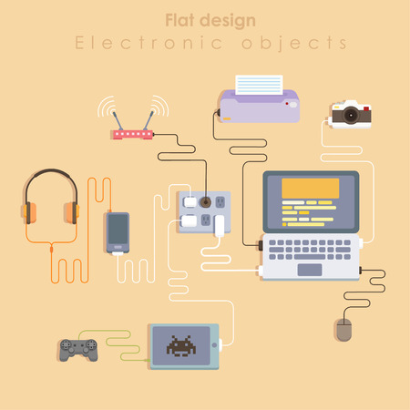 work table: Technology flat illustration with hardware and device. Top view