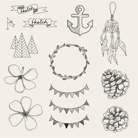 wedding tent: Hipster sketch style infographics elements set for retro design. Paster color