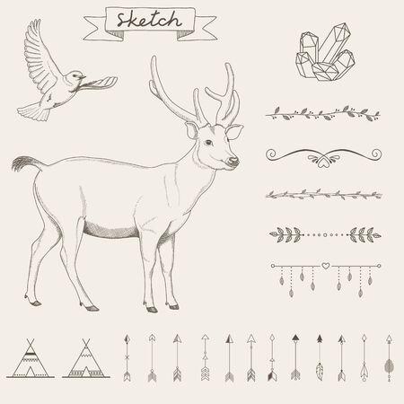 border line: Hipster sketch style infographics elements set for retro design. Paster color