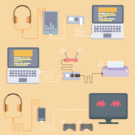 laptop vector: Technology flat illustration with hardware and device. Top view