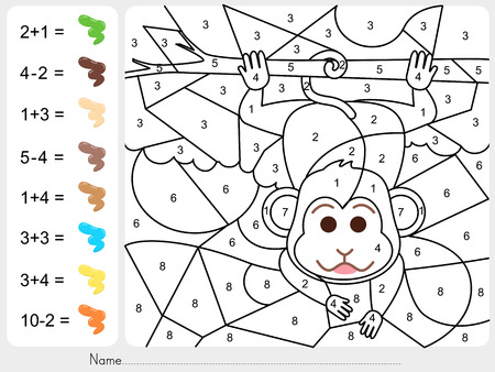 coloring sheet: Paint color by numbers - Worksheet for education