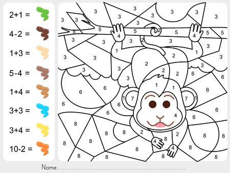 Verf kleur door nummers - werkblad voor het onderwijs Stock Illustratie