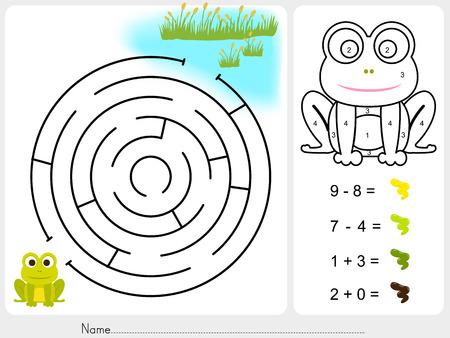 grenouille: Maze jeu, la couleur de la peinture par numéros - Feuille de calcul pour l'éducation