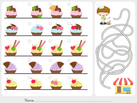 Photo Hunt and Maze game - Worksheet for education 일러스트