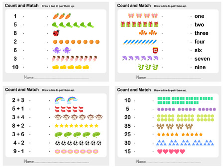 Match number shadow 4 sheet - Worksheet for education