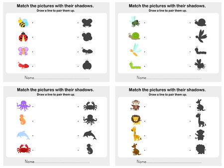 shadow match: Match animal shadow 4 sheet - Worksheet for education Illustration