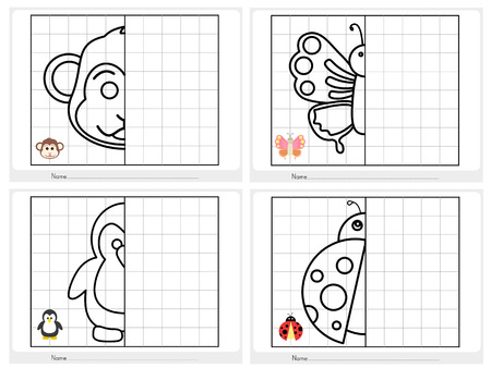 Symmetrical picture - Worksheet for education Ilustração