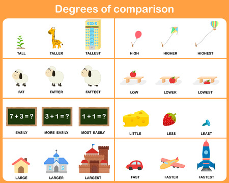cartoon math: Degrees of comparison adjective - Worksheet for education Illustration