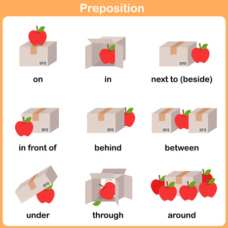 Preposition of motion for preschool - Worksheet for education 矢量图像