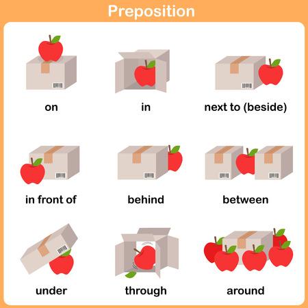 Preposition of motion for preschool - Worksheet for education Vettoriali
