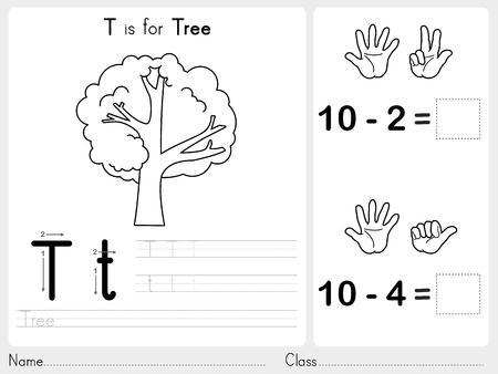 lettres alphabet: Alphabet AZ traçage et de puzzle Feuille, des exercices pour les enfants - Coloring Book - illustration et vecteur contour Illustration