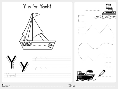 activity cartoon: Alphabet A-Z Tracing and puzzle Worksheet,  Exercises for kids - Coloring book - illustration and vector outline