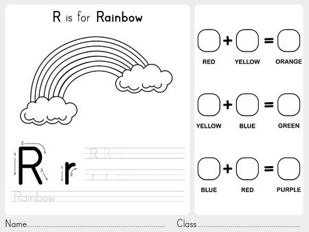 알파벳 AZ 추적 및 퍼즐 워크 시트, 아이들을위한 연습 - 색칠 책 - 그림 및 벡터 개요 일러스트