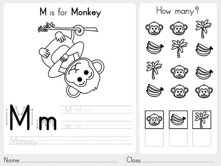 exercise class: Alphabet A-Z Tracing and puzzle Worksheet,  Exercises for kids - Coloring book - illustration and vector outline