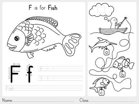tracing: Alphabet A-Z Tracing and puzzle Worksheet,  Exercises for kids - Coloring book - illustration and vector outline