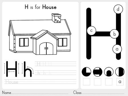 outline of: Alphabet A-Z Tracing and puzzle Worksheet,  Exercises for kids - Coloring book - illustration and vector outline