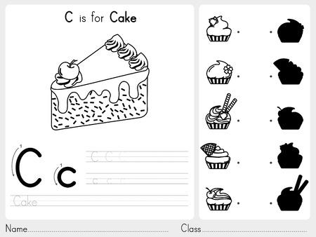 ワークシート演習子供の塗り絵 - イラストとベクター アウトライン アルファベット A ~ Z のトレースとパズル  イラスト・ベクター素材