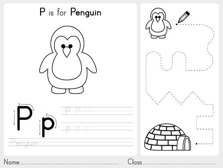 Alfabet AZ Tracing en puzzel werkblad, Oefeningen voor kinderen - Kleurboek - illustratie en vector overzicht Stock Illustratie