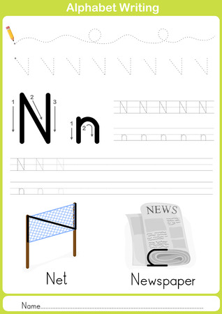 practice: Alphabet A-Z Tracing Worksheet,  Exercises for kids -  illustration and vector outline - A4 paper ready to print