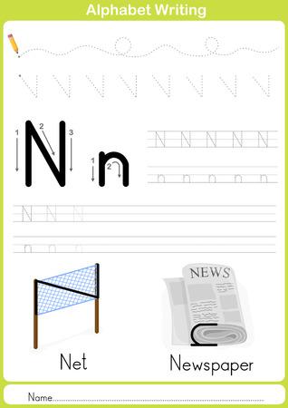 lettres alphabet: Alphabet AZ Tracing Feuille, Exercices pour les enfants - illustration et vecteur contour - papier A4 prêt à imprimer