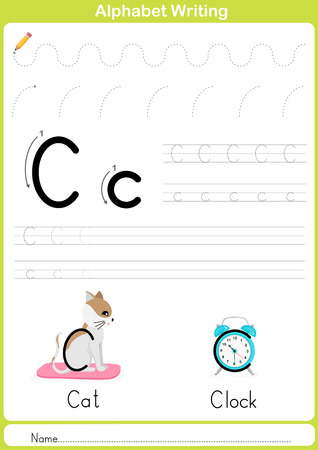 exercise class: Alphabet A-Z Tracing Worksheet,  Exercises for kids -  illustration and vector outline - A4 paper ready to print