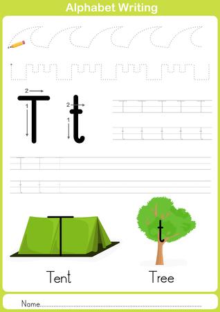 preescolar: Alfabeto AZ Tracing Hoja de trabajo, ejercicios para los niños - ilustración vectorial y esquema - papel A4 listo para imprimir