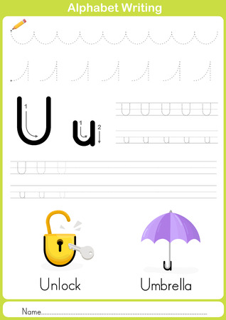 exercise cartoon: Alphabet A-Z Tracing Worksheet,  Exercises for kids -  illustration and vector outline - A4 paper ready to print