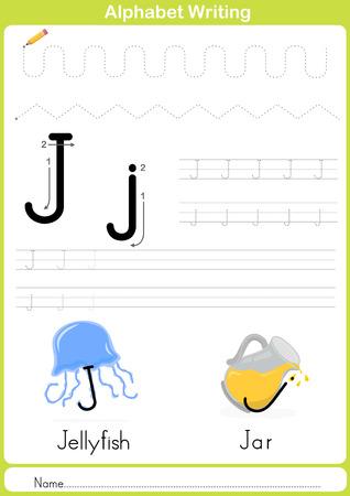 abecedario: Alfabeto AZ Tracing Hoja de trabajo, ejercicios para los ni�os - ilustraci�n vectorial y esquema - papel A4 listo para imprimir