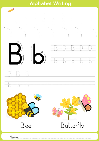 letter word: Alphabet A-Z Tracing Worksheet,  Exercises for kids -  illustration and vector outline - A4 paper ready to print