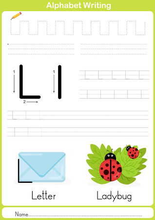 writing a letter: Alphabet A-Z Tracing Worksheet,  Exercises for kids -  illustration and vector outline - A4 paper ready to print