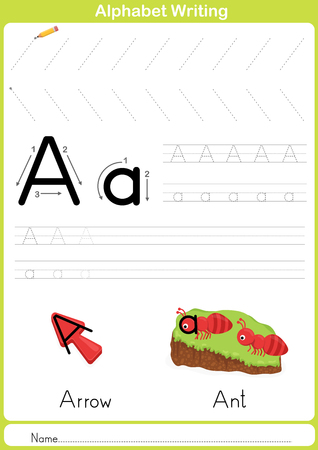 Alphabet A-Z Tracing Worksheet,  Exercises for kids -  illustration and vector outline - A4 paper ready to print