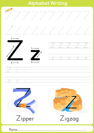vocabulary: Alphabet A-Z Tracing Worksheet,  Exercises for kids -  illustration and vector outline - A4 paper ready to print