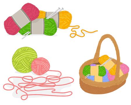 gomitoli di lana: Vettore di un cesto di vimini pieno di materiali di lavoro a maglia