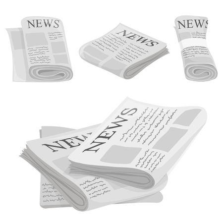 rolled newspaper: Newspaper vector icons with type and picture mockup