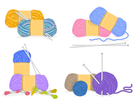 gomitoli di lana: Vettore di un filato, materiali per maglieria