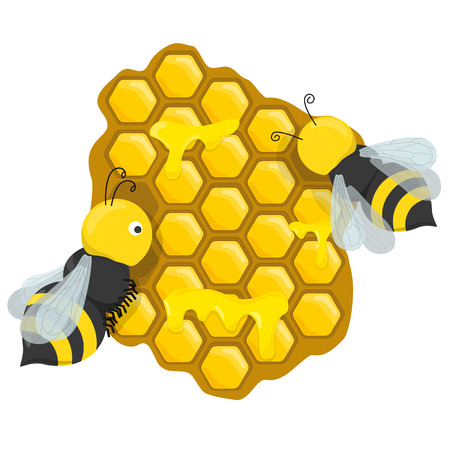teamwork cartoon: honeycombs with honey bees