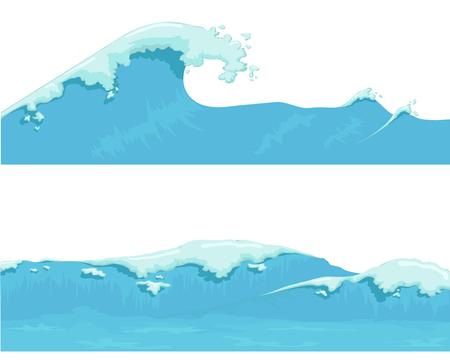 olas de mar: Onda de oc�ano azul, ola gigante Vectores