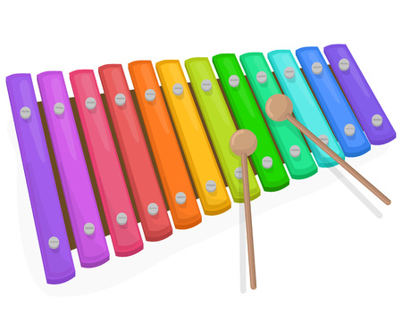 Colorful xylophone with mallets on a white background