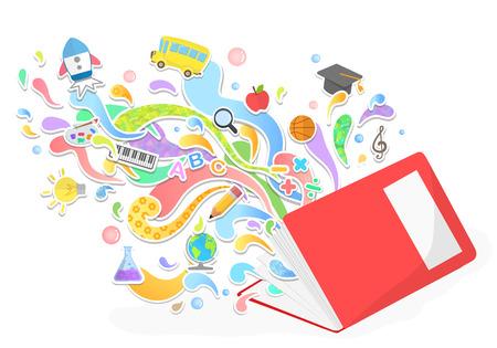 la educación y el vector de concepto que se inclina - abstracto con iconos y signos