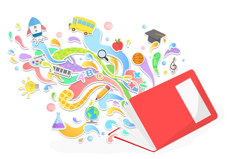 Vector education and leaning concept - abstract with icons and signs Ilustração