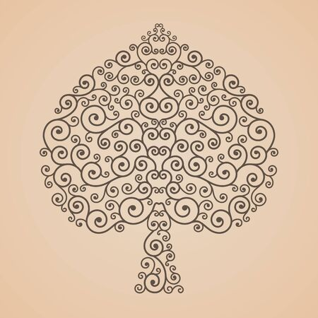 thai pattern: Bodhi Tree shape, Abstract vector tree