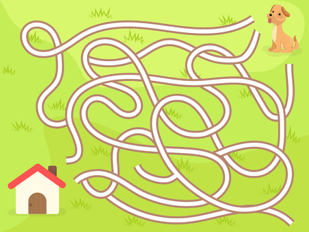 dog: Vector maze game with dog to the home