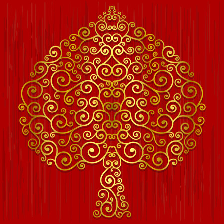 buddha: Gold Bodhi Tree shape, Abstract vector tree on red background