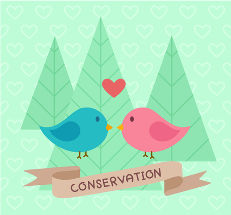two birds: Two birds in love - Conservation banner
