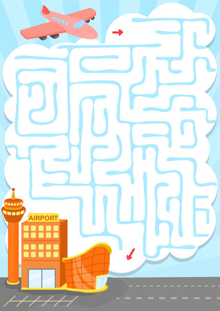 easy way: maze game with plant to the airport Illustration